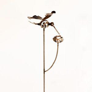 hummingbird stake with rose   RS Welding Studio