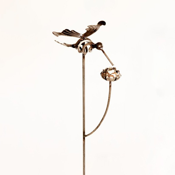 hummingbird stake with rose | RS Welding Studio
